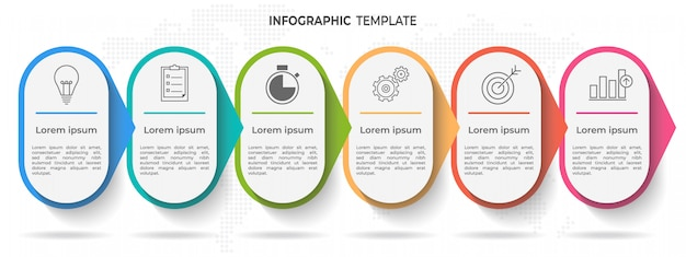 Timeline infographic template 6 options or steps. Premium Vector