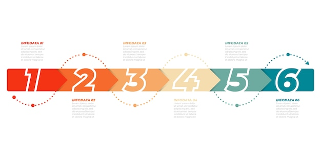 Timeline infographic template. business concept with 6 options, steps, arrows. can be used for workflow diagram, info chart, presentations. Premium Vector