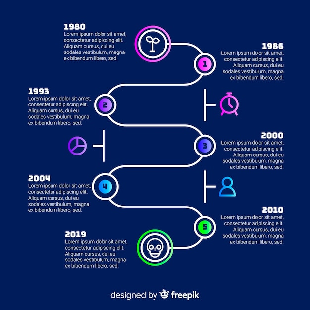Timeline infographic template flat design Free Vector