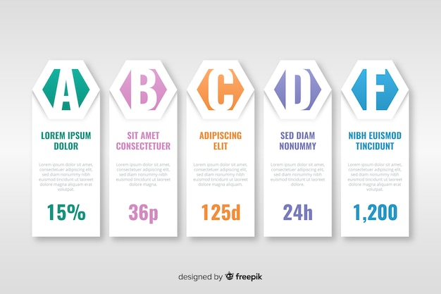 Timeline infographic template flat style Free Vector