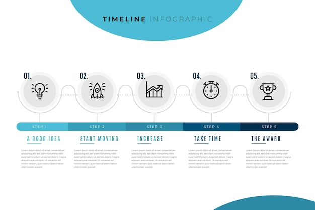 Timeline infographic template with circles and steps Free Vector