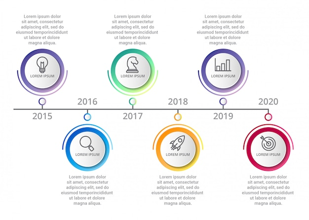 Timeline infographic template with icons options or steps Premium Vector