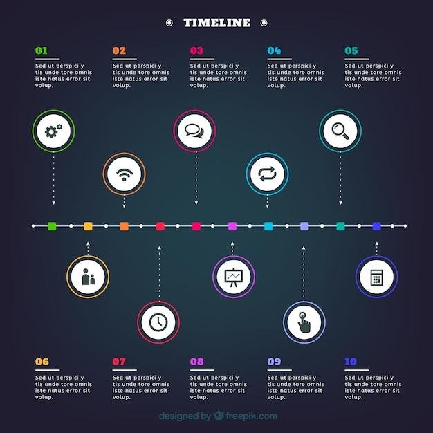 Timeline infographic template Premium Vector