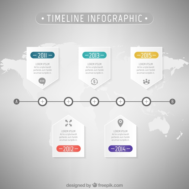 Timeline infographic with a world map vector premium download timeline infographic with a world map premium vector gumiabroncs Choice Image