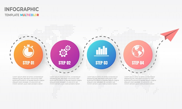 Timeline infographic with circle 4 options Premium Vector