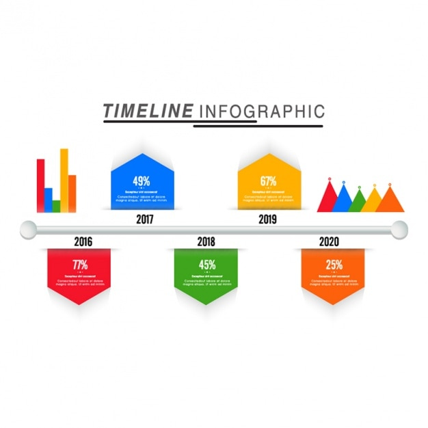 Timeline infographic with colorful charts in flat design ...
