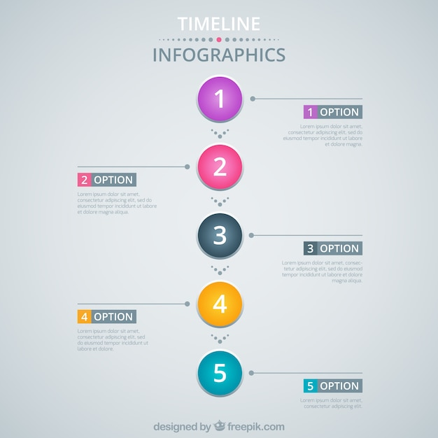 Timeline infographic with colorful circles Vector | Free ...