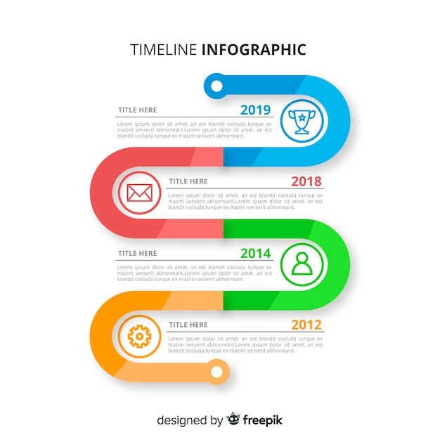 Timeline infographic with colourful marker Free Vector
