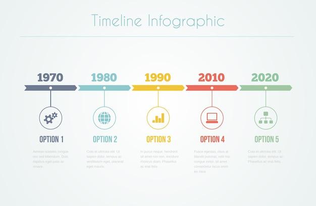 5つのステップで図とテキストを含むタイムラインのインフォグラフィック 無料ベクター