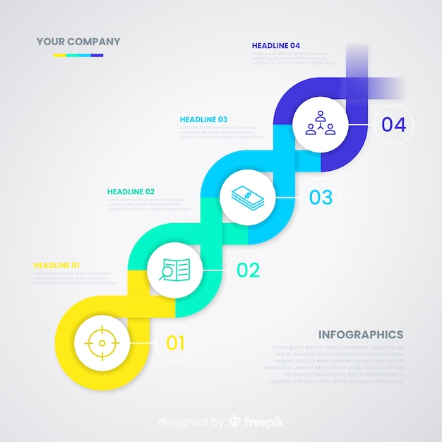 Timeline infographic with dna helix shape Vector | Free Download
