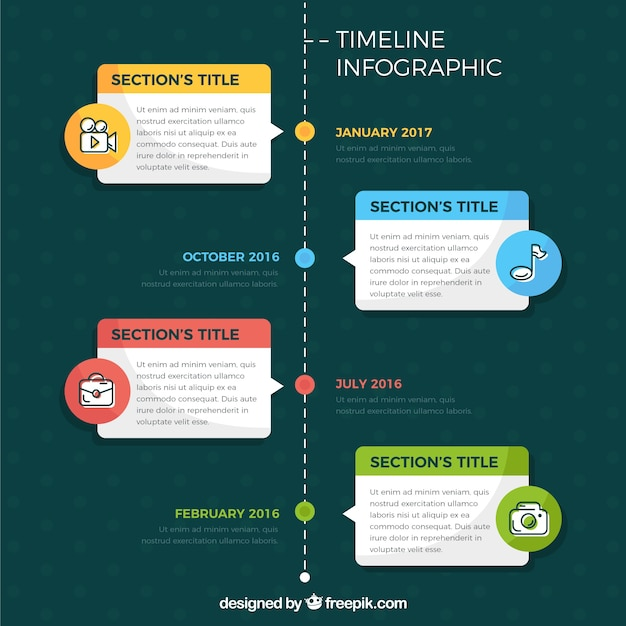 Timeline infographic with four steps in flat design Vector ...