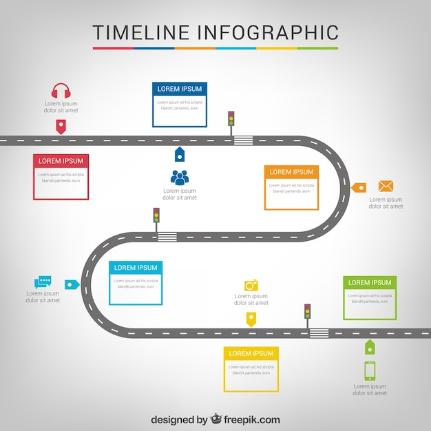 21 Download In Vector Eps Psd: Timeline Infographic With A Road Vector