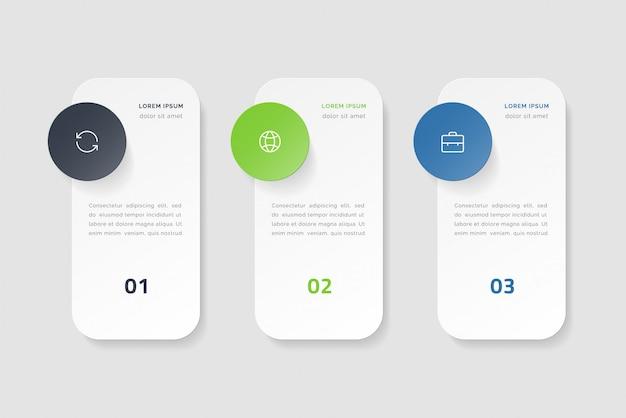 3つのオプション、ステップまたはプロセスを持つタイムラインインフォグラフィック。カラフルなテンプレートデザイン Premiumベクター