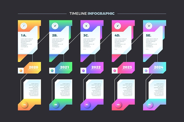 Timeline infographic with white text boxes Free Vector
