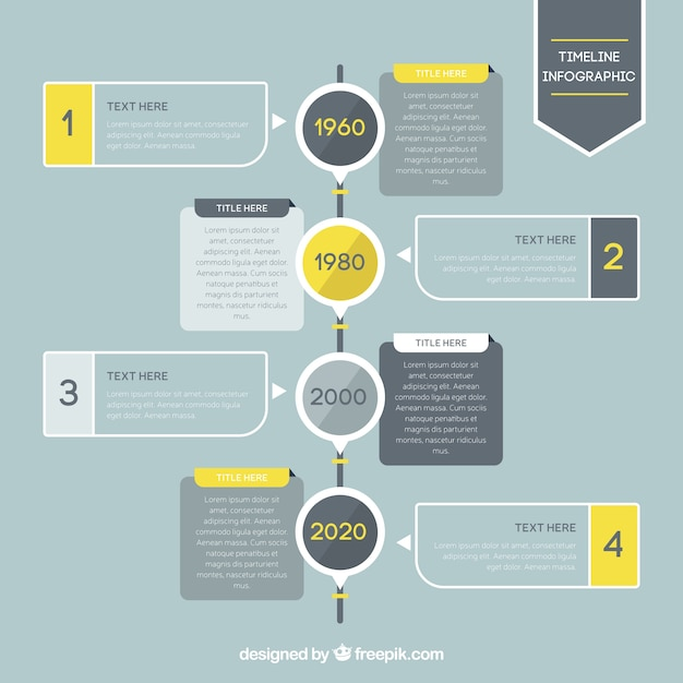 timeline infographic with yellow details vector premium download