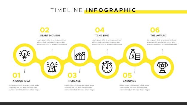 노란색 요소가있는 타임 라인 infographic 무료 벡터