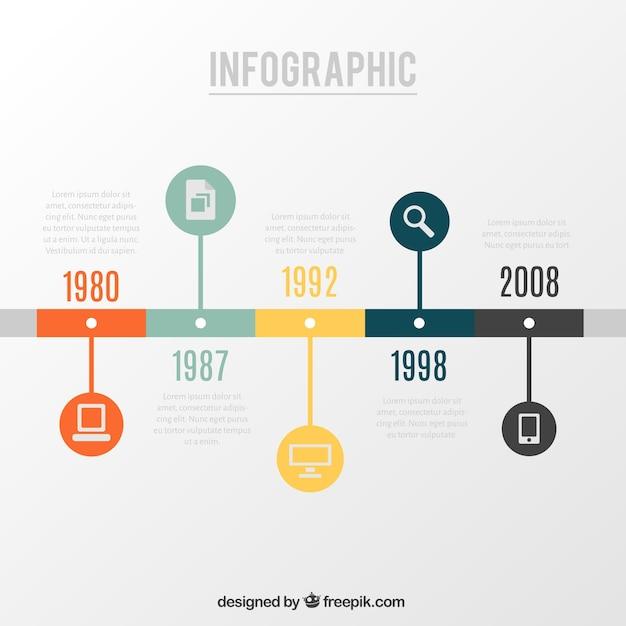 Simple Art Timeline : Timeline infographic vector free download