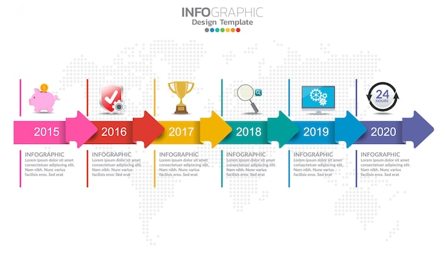 Timeline infographics design template with options, process diagram. Premium Vector