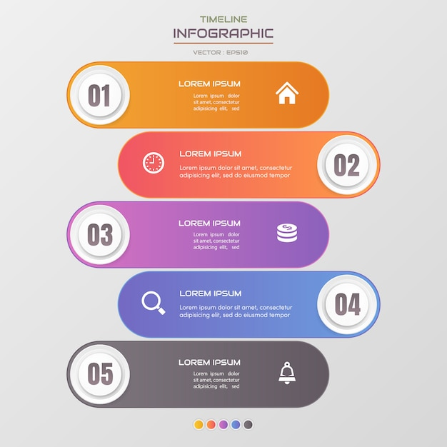 Timeline infographics template with icons Premium Vector