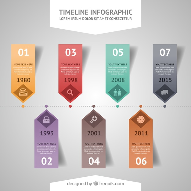 Timeline infography curriculum Vector | Free Download