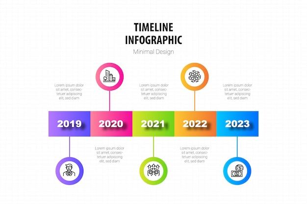 Timeline minimal infographic template Premium Vector