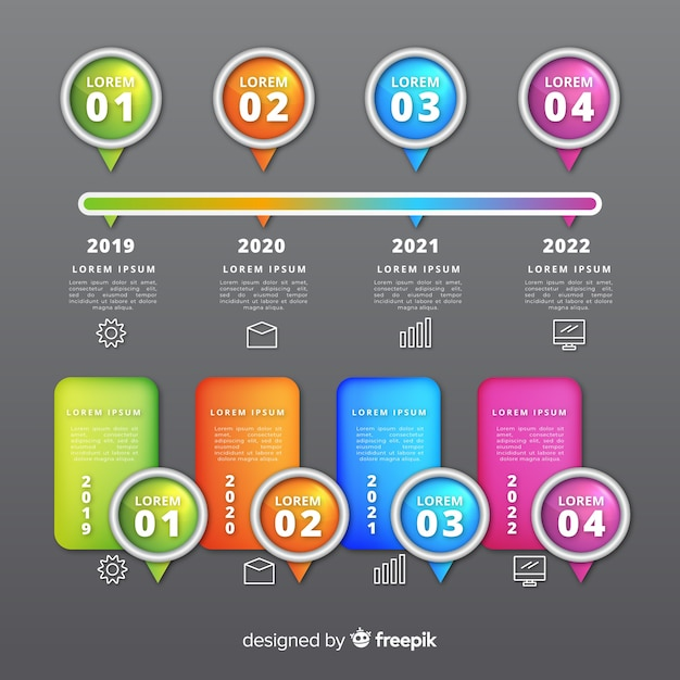 Timeline realistic glossy infograph Free Vector