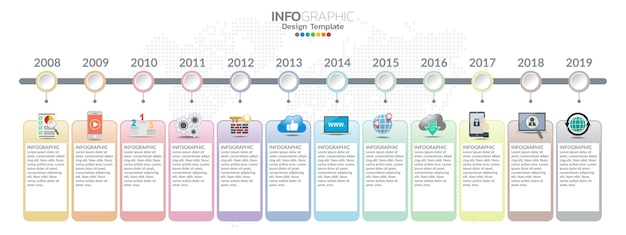 Timeline template with milestones in pastel colors. Premium Vector