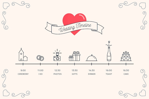 Timeline for wedding in lineal style Free Vector