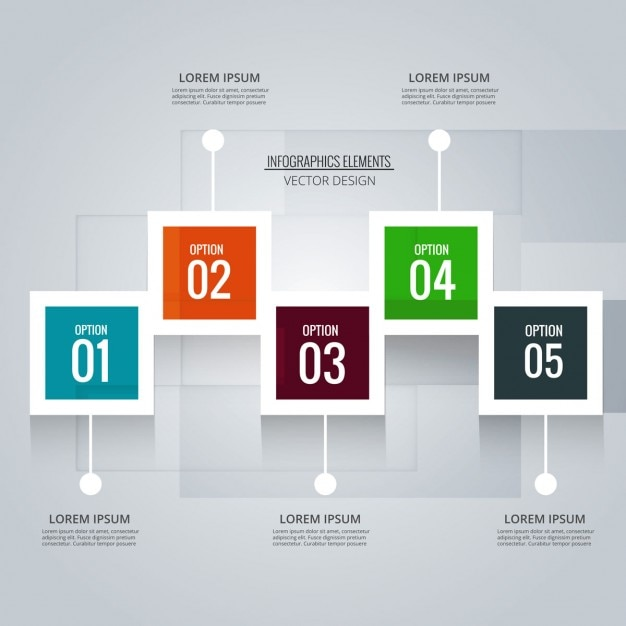Timeline with 5 steps Free Vector