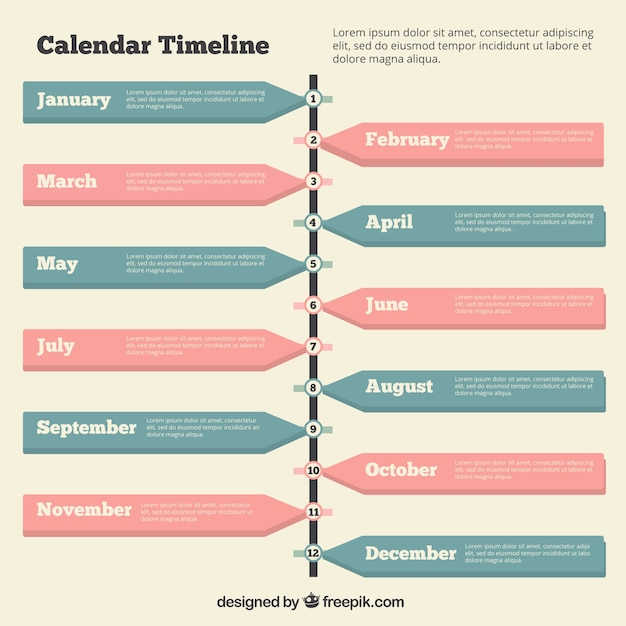 Timeline with a calendar Vector | Free Download
