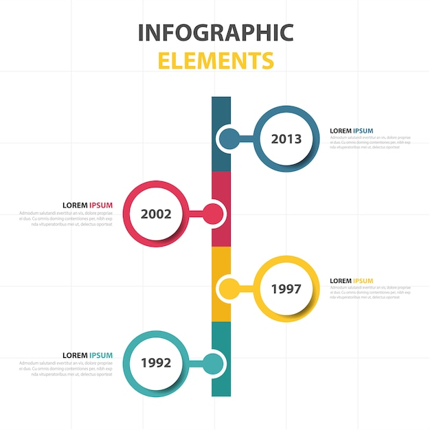 Timeline with three colors Free Vector