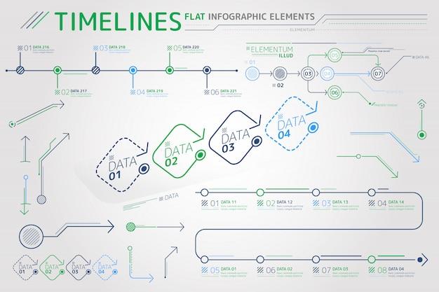 Timelines flat infographic elements Premium Vector