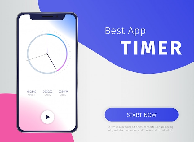 Timer app banner with digital mobile technology symbols Free Vector