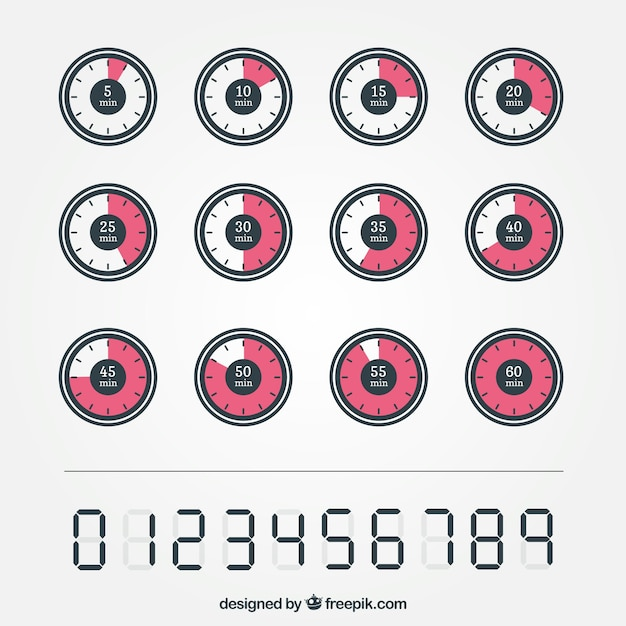 Timer icons Free Vector