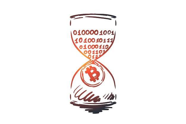 Метка времени, биткойн, блокчейн, валюта, цифровая концепция. ручной обращается пассивный доход, эскиз концепции добычи. Premium векторы