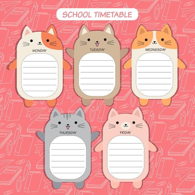 Timetable cat Premium Vector