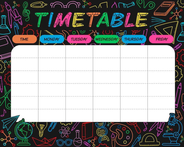 Timetable colorful Premium Vector