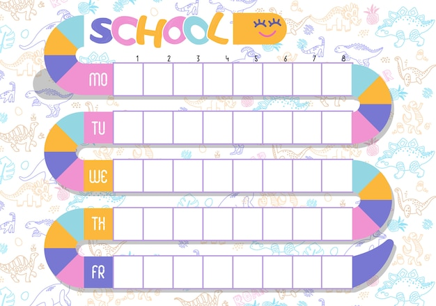 Timetable, schedule of lessons in the school Premium Vector