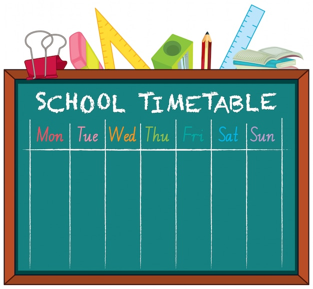 Timetable school planning with characters Free Vector