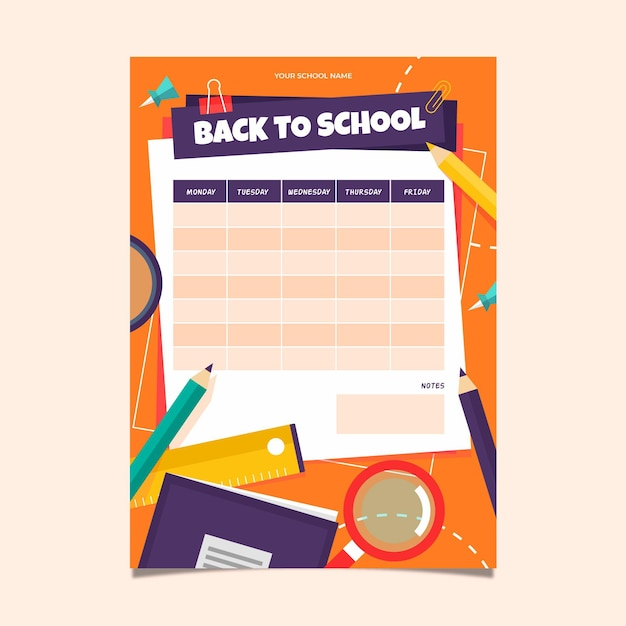 Timetable template for back to school Free Vector
