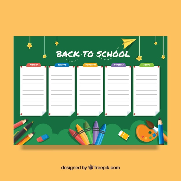 Timetable Template With Chalkboard Design Vector  Free Download