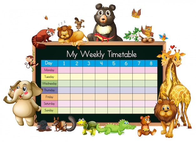 Расписание шаблона со многими животными на белом фоне Бесплатные векторы