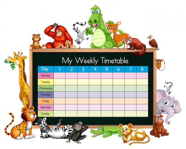 Timetable template with many animals Free Vector