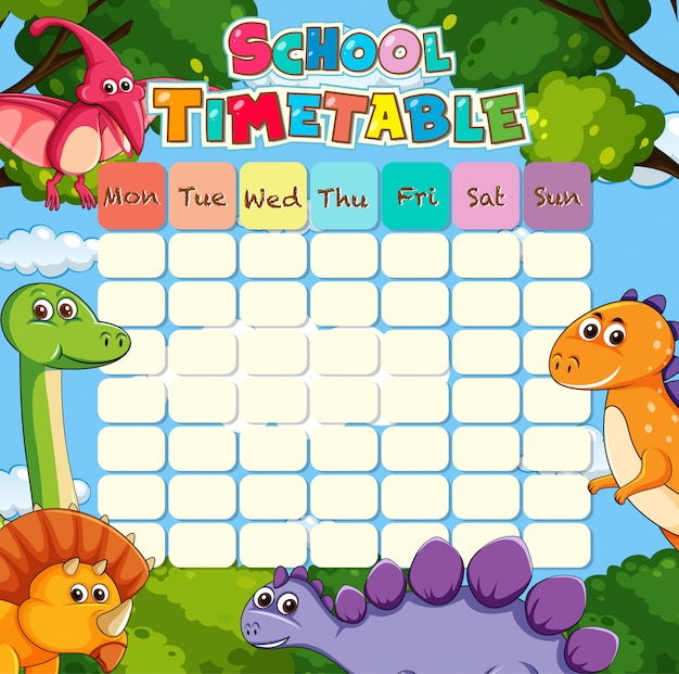 Timetable with dino Free Vector