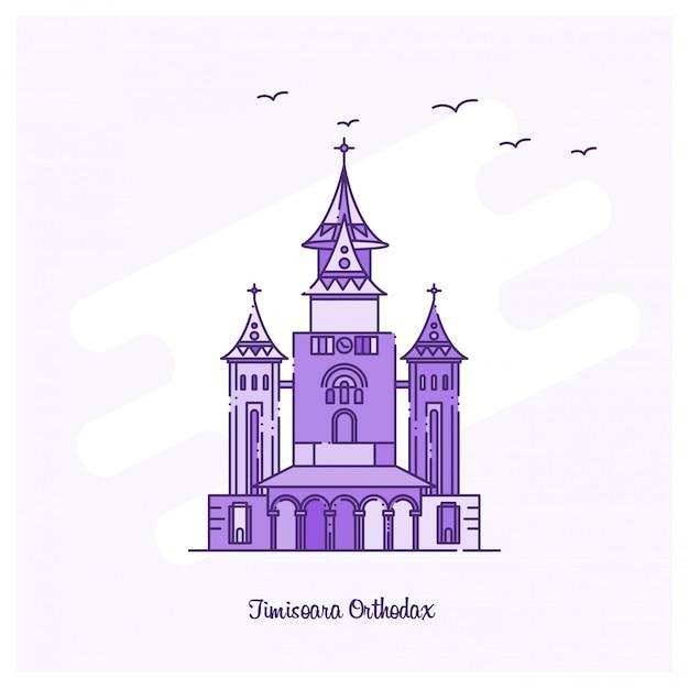 Timisoara orthodaxランドマークパープルドットラインスカイライン 無料ベクター