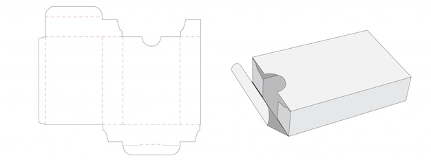 Tin box packaging die cut template design Premium Vector