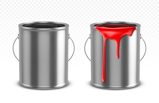 Ведро с красными капающими каплями и пустой металлический горшок Бесплатные векторы