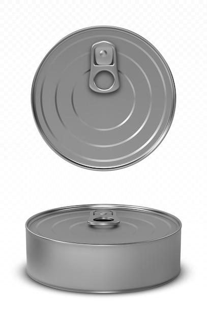 Mockup di lattina per pesci o alimenti per animali domestici con anello superiore e vista frontale Vettore gratuito
