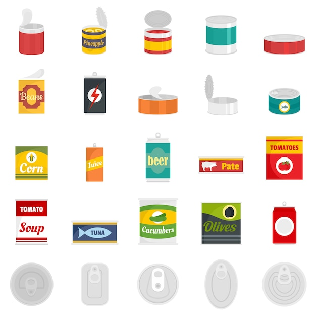 Tin can food package jar icons set Premium Vector