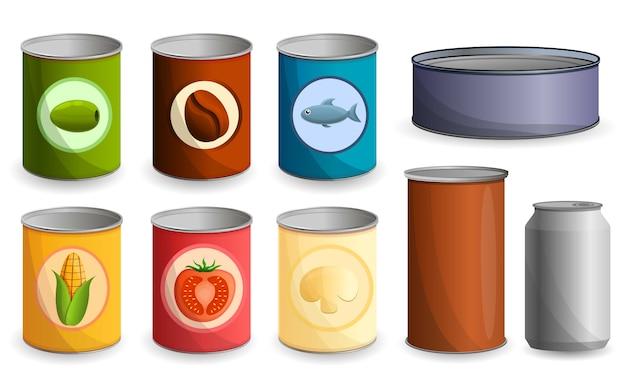 Tin can icon set, cartoon style Premium Vector